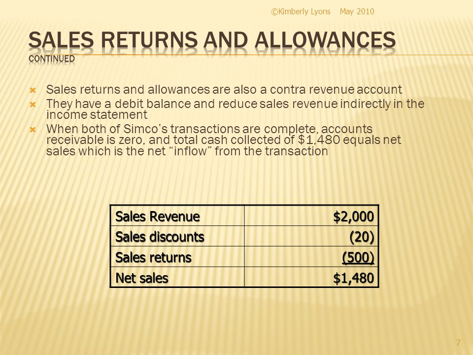 Sales returns and allowances are also a contra revenue account They have a debit balance and reduce sales revenue indirectly in the income statement W