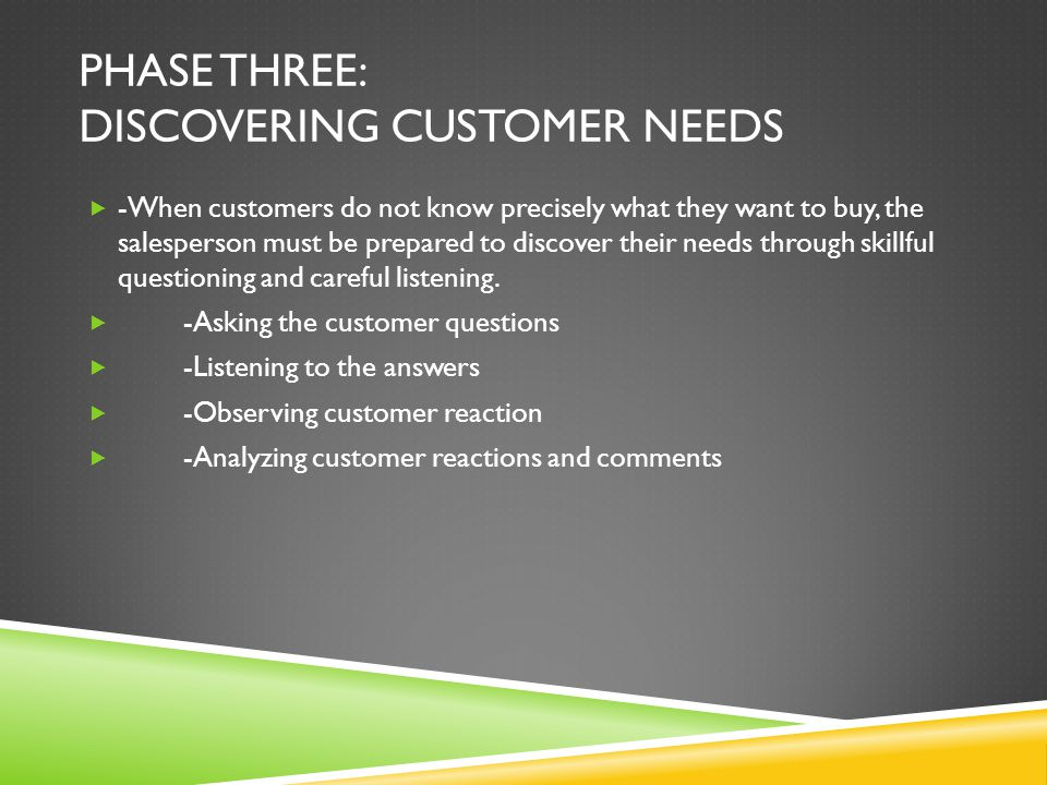 PHASE THREE: DISCOVERING CUSTOMER NEEDS -When customers do not know precisely what they want to buy, the salesperson must be prepared to discover thei