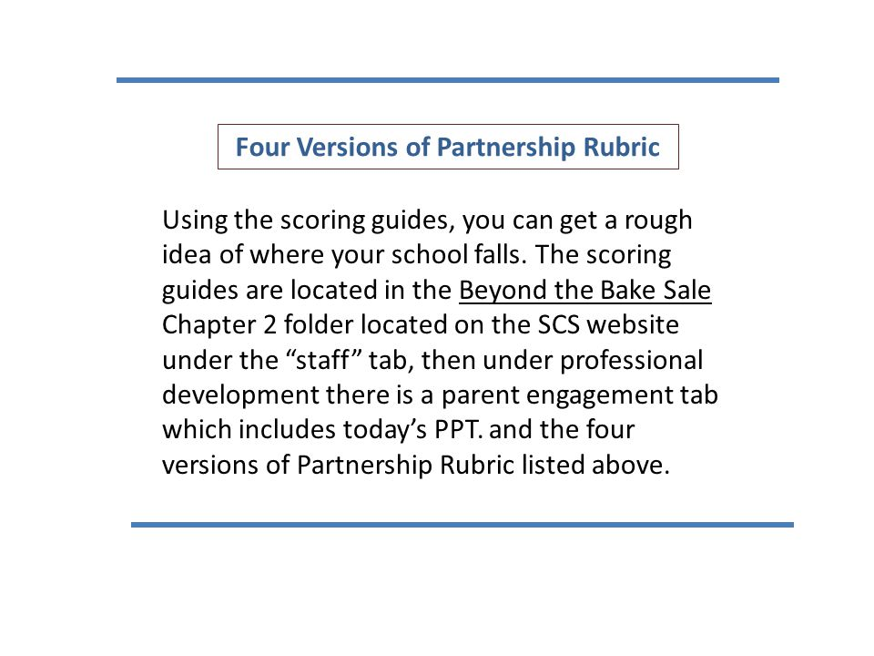 Four Versions of Partnership Rubric Using the scoring guides, you can get a rough idea of where your school falls. The scoring guides are located in t