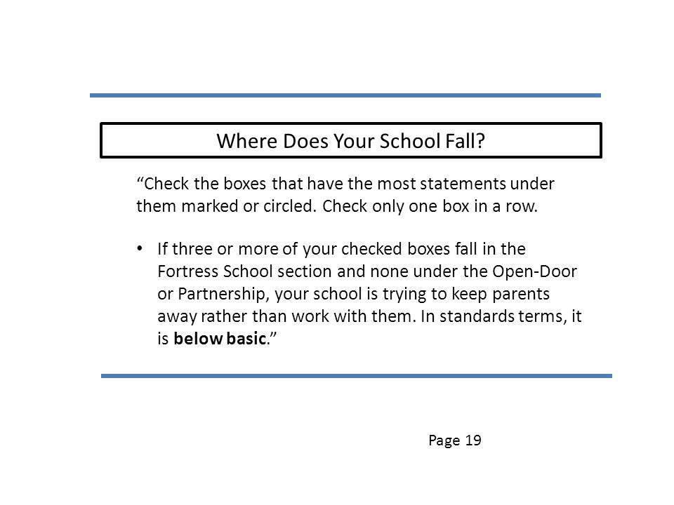 Where Does Your School Fall? Check the boxes that have the most statements under them marked or circled. Check only one box in a row. If three or more
