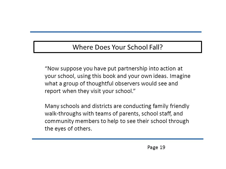 Where Does Your School Fall? Now suppose you have put partnership into action at your school, using this book and your own ideas. Imagine what a group
