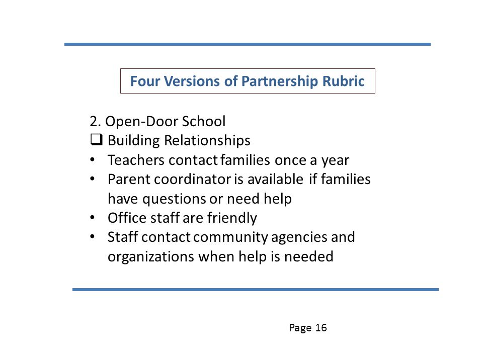 Four Versions of Partnership Rubric 2. Open-Door School Building Relationships Teachers contact families once a year Parent coordinator is available i