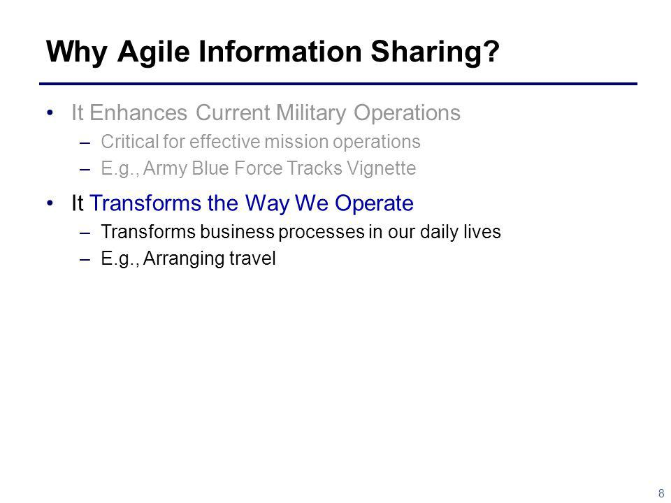 8 Why Agile Information Sharing? It Enhances Current Military Operations –Critical for effective mission operations –E.g., Army Blue Force Tracks Vign