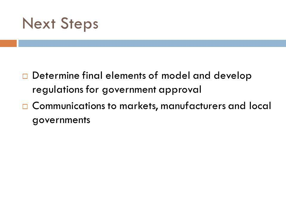 Next Steps Determine final elements of model and develop regulations for government approval Communications to markets, manufacturers and local governments
