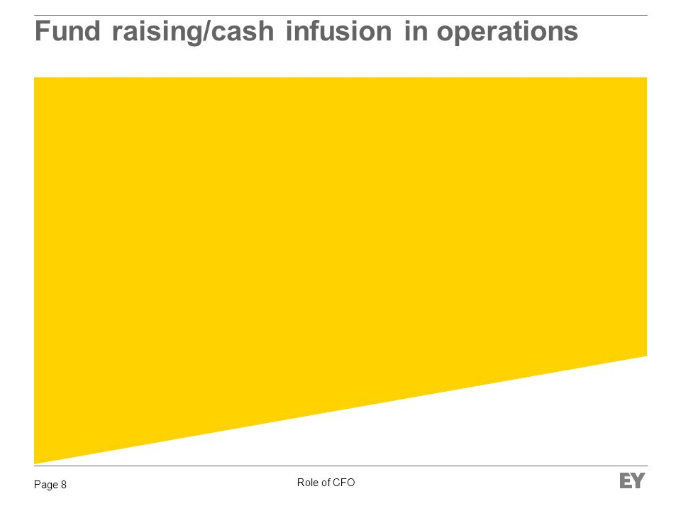 Role of CFO Page 8 Fund raising/cash infusion in operations