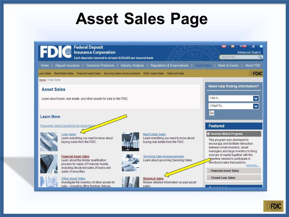 Asset Sales Page