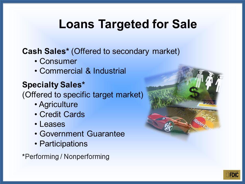 Loan Sale Advisor markets portfolio/pool.Loan files imaged/indexed for online due diligence.