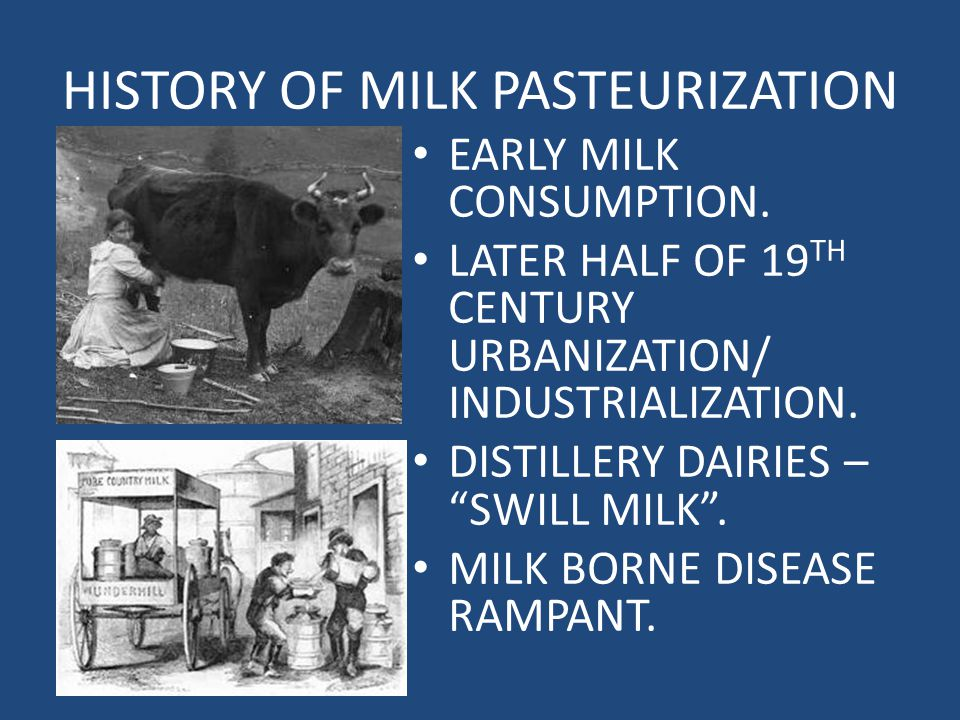 HISTORY OF MILK PASTEURIZATION EARLY MILK CONSUMPTION.