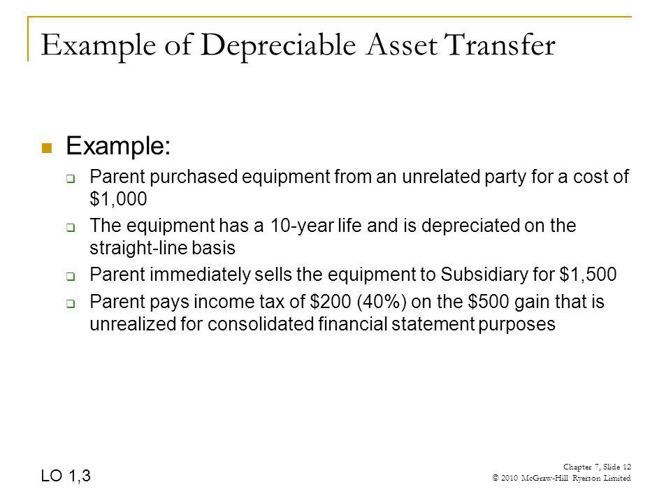 Example of Depreciable Asset Transfer Example: Parent purchased equipment from an unrelated party for a cost of $1,000 The equipment has a 10-year lif
