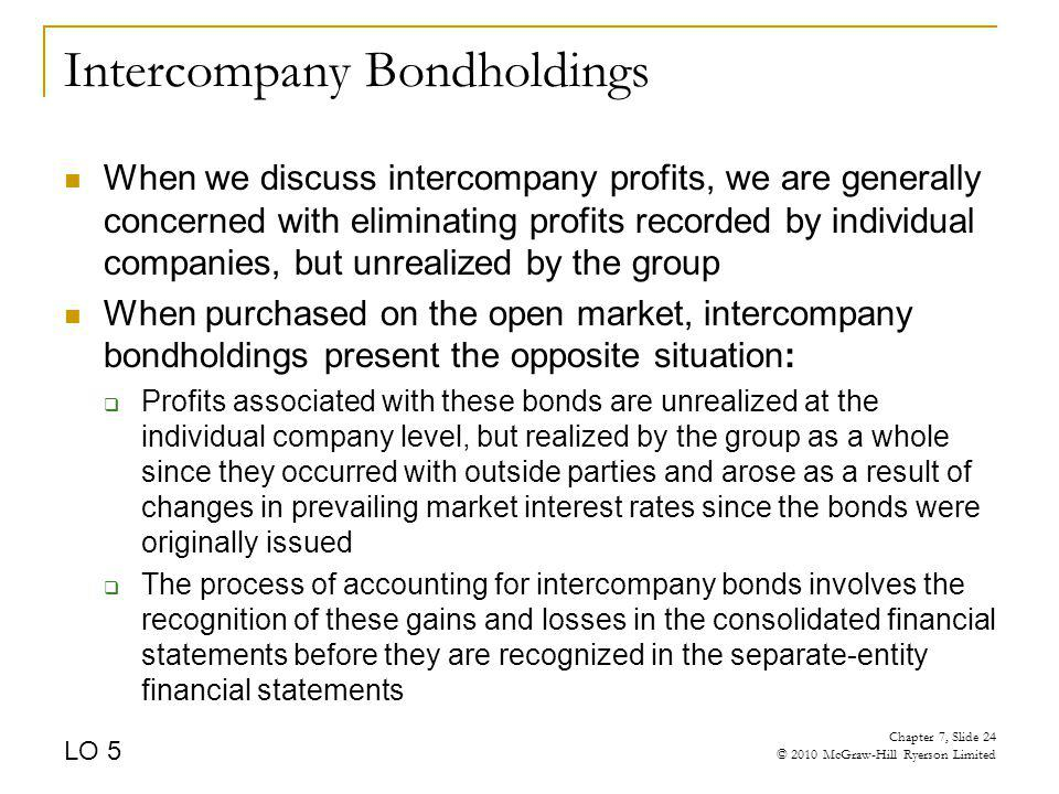Intercompany Bondholdings When we discuss intercompany profits, we are generally concerned with eliminating profits recorded by individual companies,