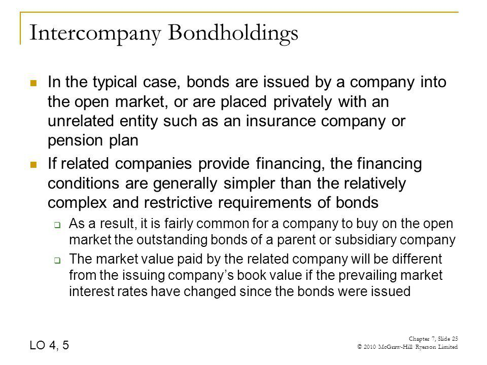 Intercompany Bondholdings In the typical case, bonds are issued by a company into the open market, or are placed privately with an unrelated entity su