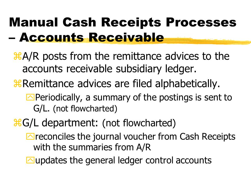 zA/R posts from the remittance advices to the accounts receivable subsidiary ledger. zRemittance advices are filed alphabetically. yPeriodically, a su