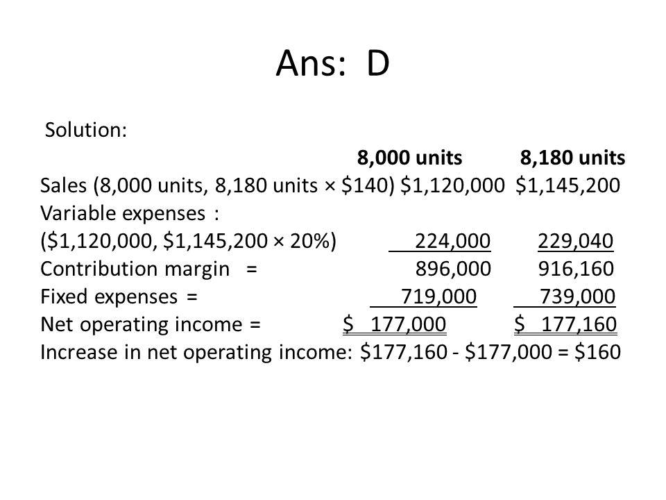Ans: D Solution: 8,000 units 8,180 units Sales (8,000 units, 8,180 units × $140) $1,120,000 $1,145,200 Variable expenses : ($1,120,000, $1,145,200 × 2