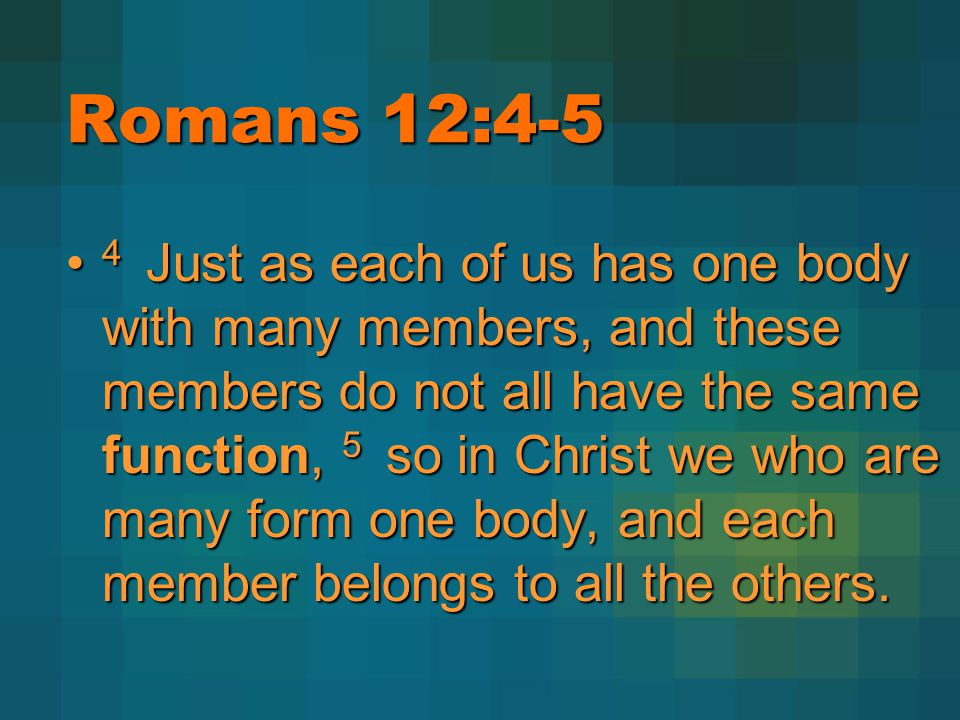 Romans 12:4-5 4 Just as each of us has one body with many members, and these members do not all have the same function, 5 so in Christ we who are many form one body, and each member belongs to all the others.