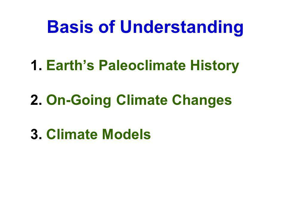 Basis of Understanding 1. Earths Paleoclimate History 2. On-Going Climate Changes 3. Climate Models