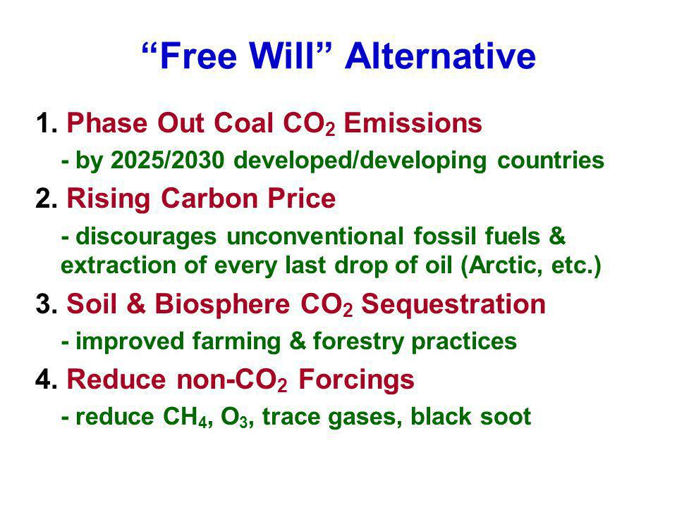 Free Will Alternative 1. Phase Out Coal CO 2 Emissions - by 2025/2030 developed/developing countries 2. Rising Carbon Price - discourages unconvention