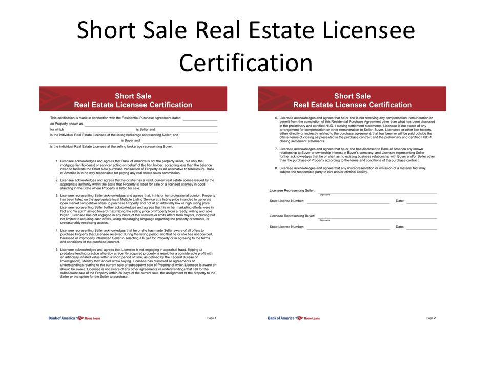 Short Sale Real Estate Licensee Certification