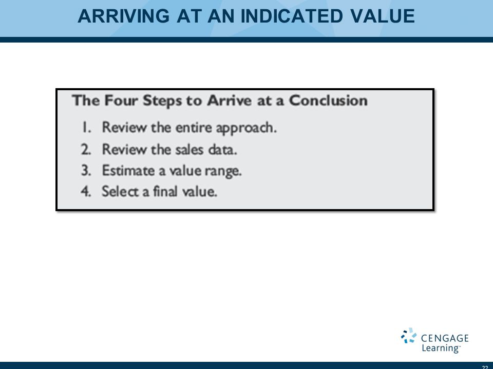 ARRIVING AT AN INDICATED VALUE 22
