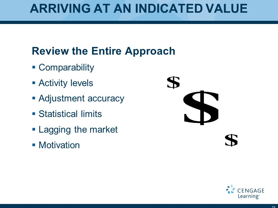 ARRIVING AT AN INDICATED VALUE Review the Entire Approach Comparability Activity levels Adjustment accuracy Statistical limits Lagging the market Moti