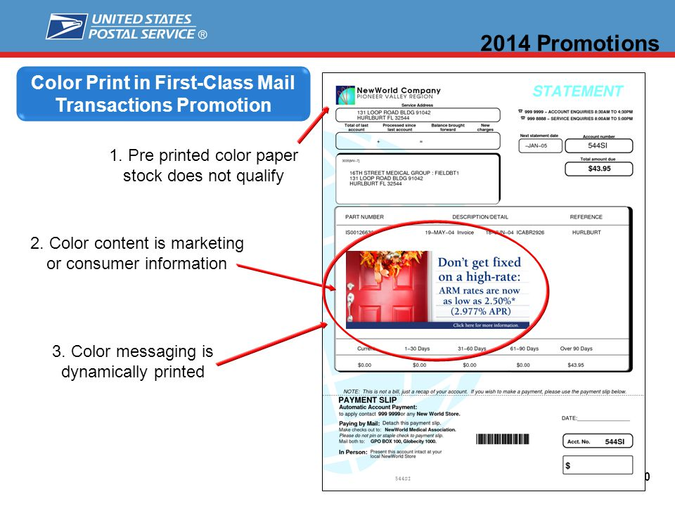 20 Color Print in First-Class Mail Transactions Promotion 2014 Promotions 1.