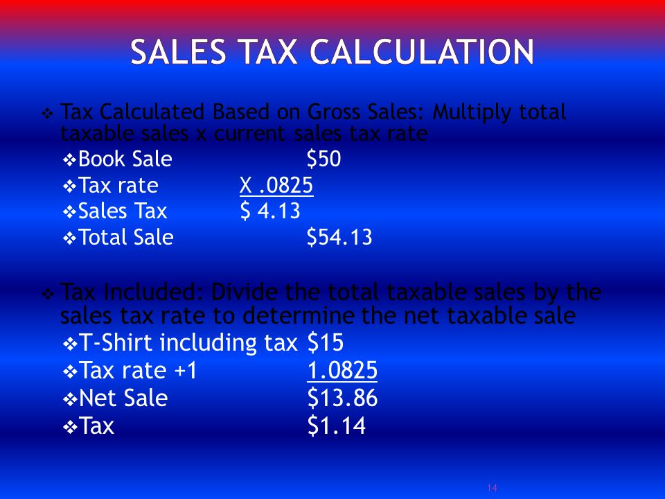 Tax Calculated Based on Gross Sales: Multiply total taxable sales x current sales tax rate Book Sale $50 Tax rate X.0825 Sales Tax$ 4.13 Total Sale$54.13 Tax Included: Divide the total taxable sales by the sales tax rate to determine the net taxable sale T-Shirt including tax$15 Tax rate +11.0825 Net Sale$13.86 Tax$1.14 14