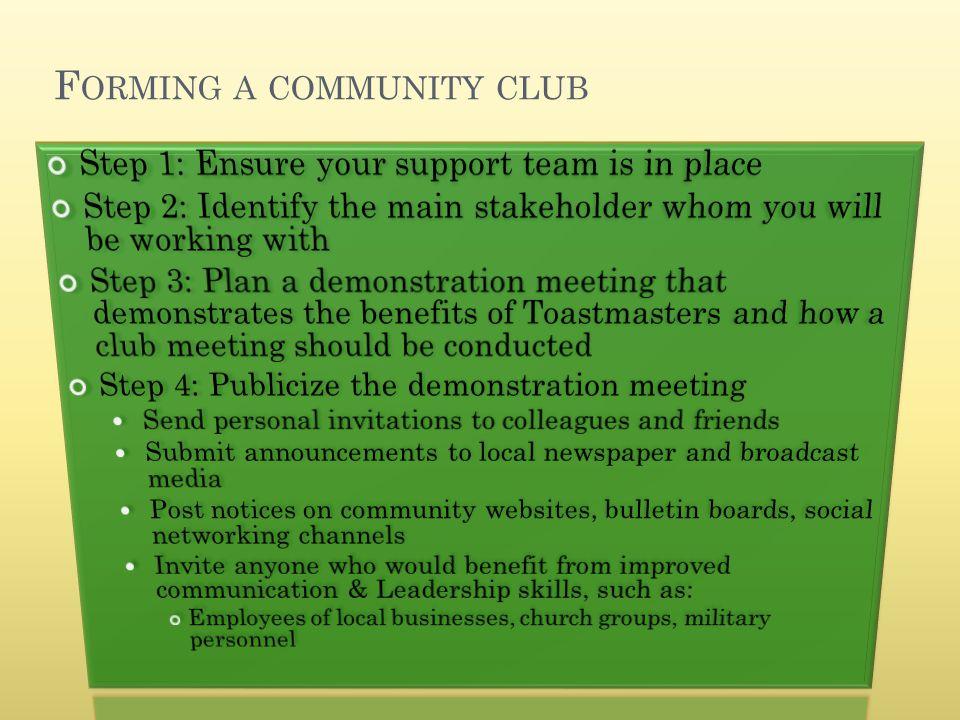 F ORMING A COMMUNITY CLUB