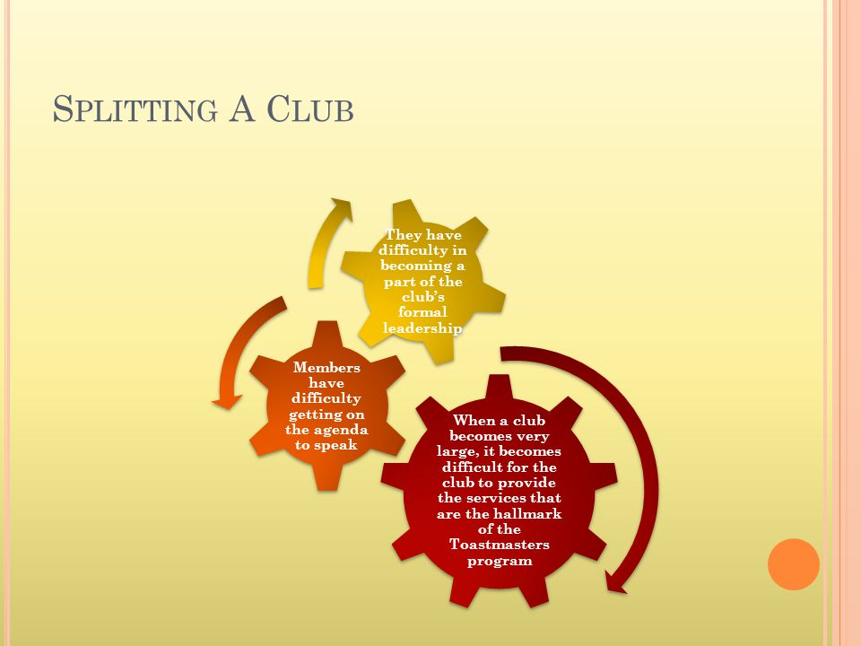 S PLITTING A C LUB When a club becomes very large, it becomes difficult for the club to provide the services that are the hallmark of the Toastmasters program Members have difficulty getting on the agenda to speak They have difficulty in becoming a part of the clubs formal leadership