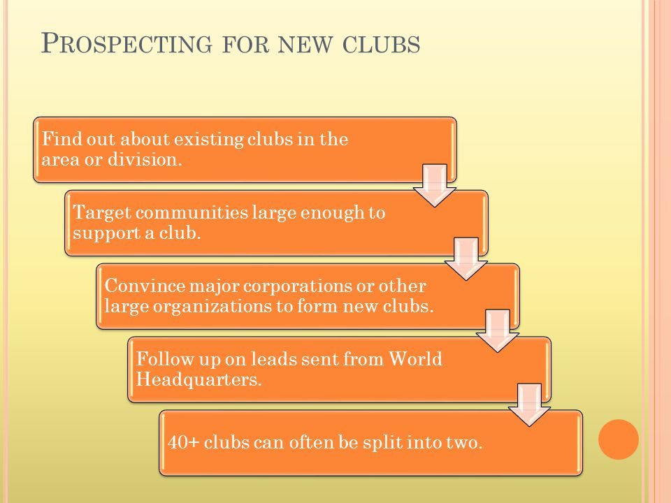 P ROSPECTING FOR NEW CLUBS Find out about existing clubs in the area or division. Target communities large enough to support a club. Convince major co