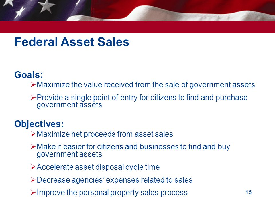 15 Goals: Maximize the value received from the sale of government assets Provide a single point of entry for citizens to find and purchase government assets Objectives: Maximize net proceeds from asset sales Make it easier for citizens and businesses to find and buy government assets Accelerate asset disposal cycle time Decrease agencies expenses related to sales Improve the personal property sales process Federal Asset Sales