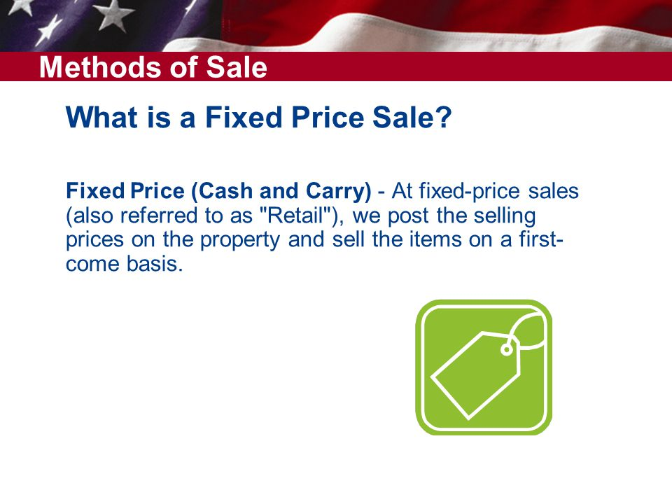 What is a Fixed Price Sale.