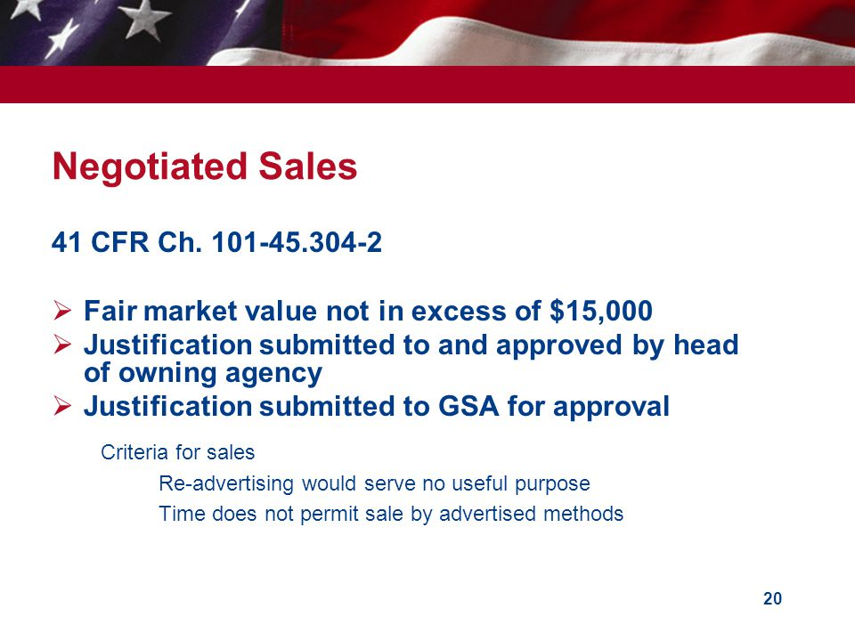 20 Negotiated Sales 41 CFR Ch.