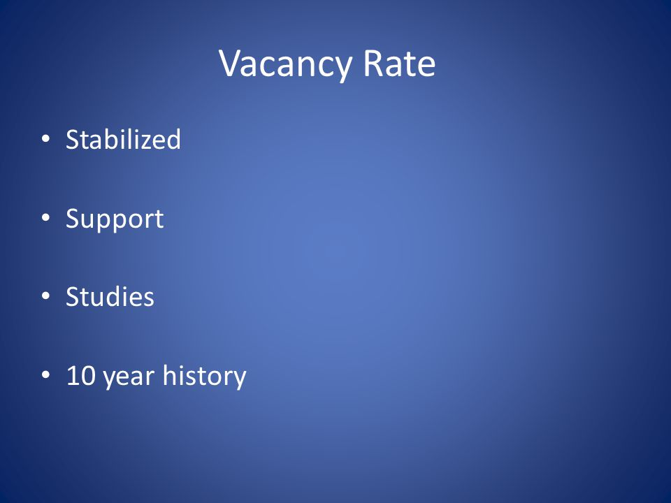 Vacancy Rate Stabilized Support Studies 10 year history