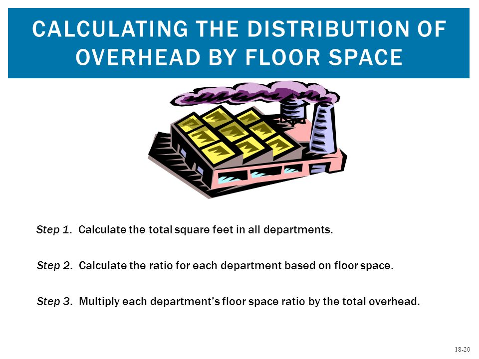 18-20 CALCULATING THE DISTRIBUTION OF OVERHEAD BY FLOOR SPACE Step 1. Calculate the total square feet in all departments. Step 2. Calculate the ratio