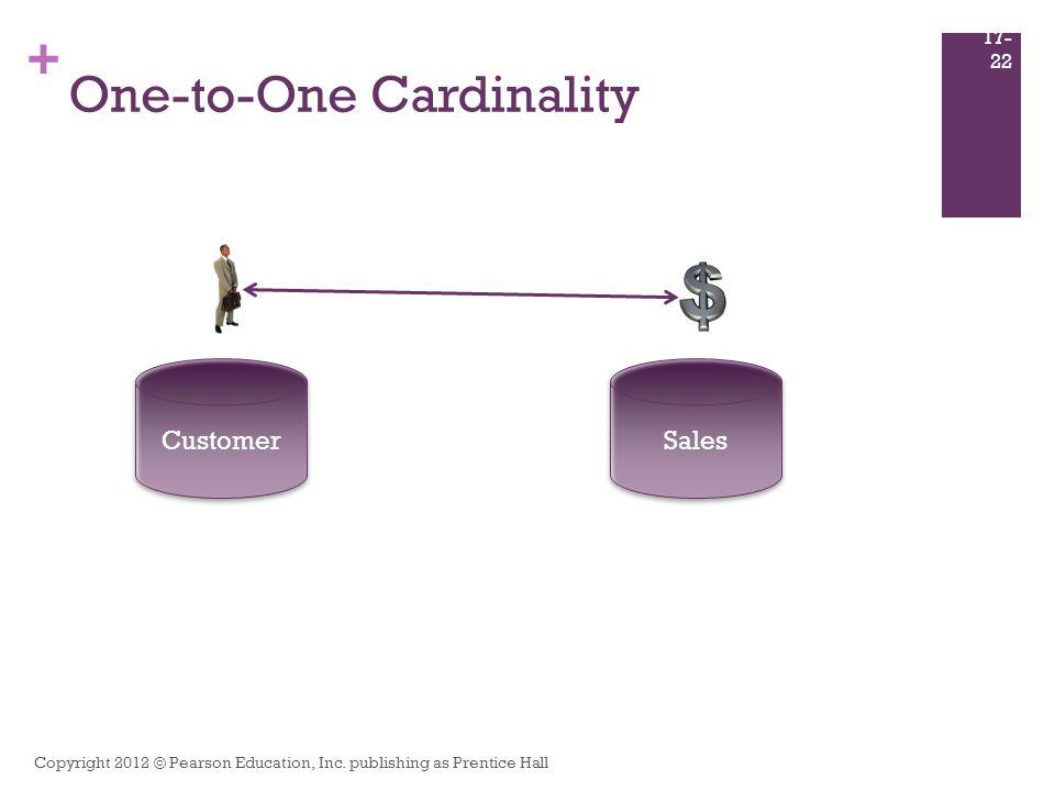 + One-to-One Cardinality Copyright 2012 © Pearson Education, Inc. publishing as Prentice Hall 17- 22 Customer Sales