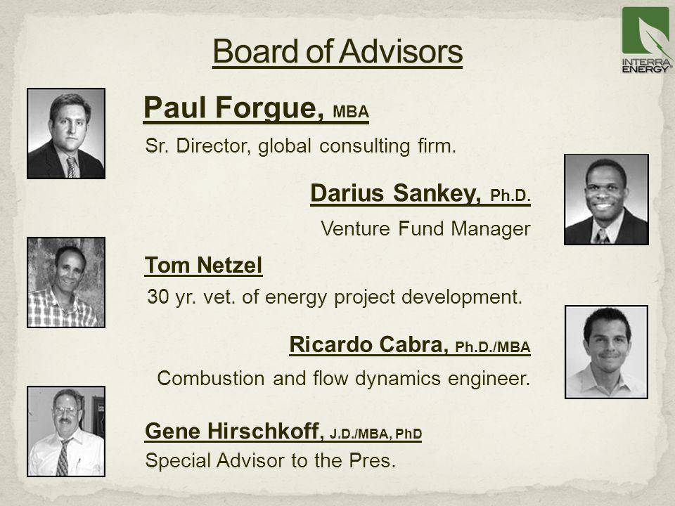 Paul Forgue, MBA Sr. Director, global consulting firm. Ricardo Cabra, Ph.D./MBA Combustion and flow dynamics engineer. Tom Netzel 30 yr. vet. of energ