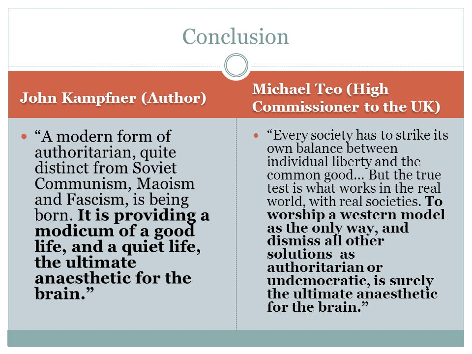 John Kampfner (Author) Michael Teo (High Commissioner to the UK) A modern form of authoritarian, quite distinct from Soviet Communism, Maoism and Fascism, is being born.