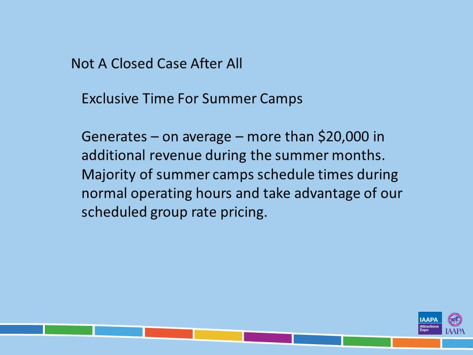 Exclusive Time For Summer Camps Generates – on average – more than $20,000 in additional revenue during the summer months.