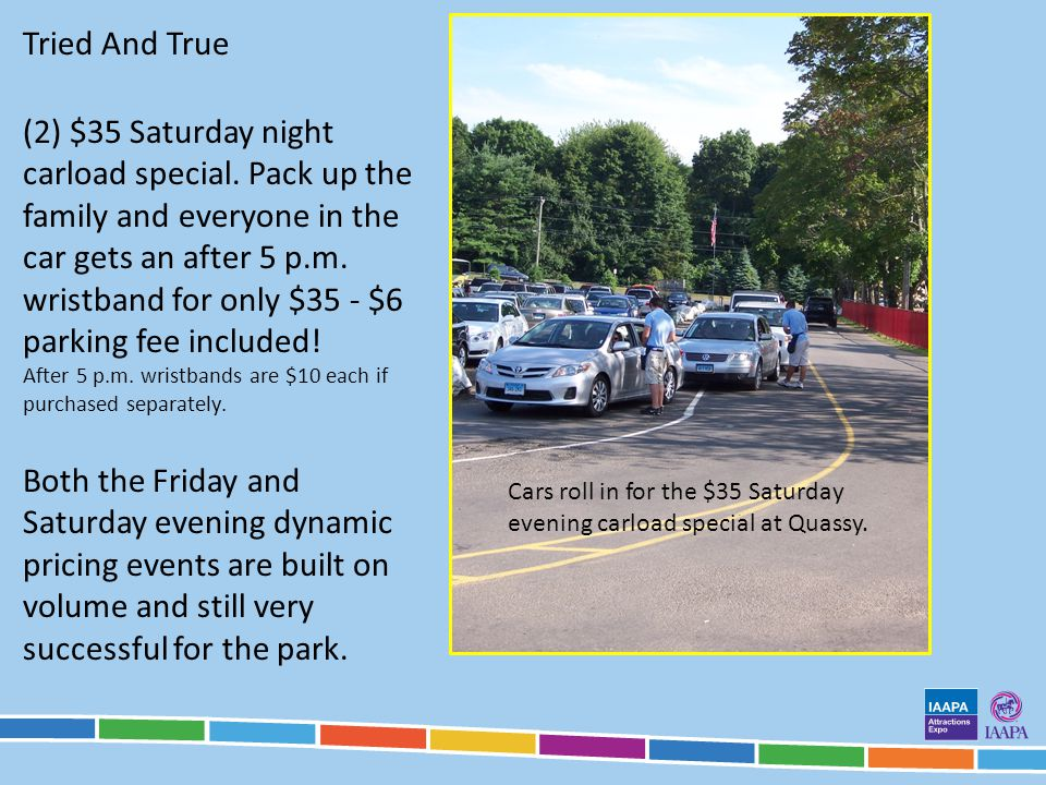Tried And True Cars roll in for the $35 Saturday evening carload special at Quassy.