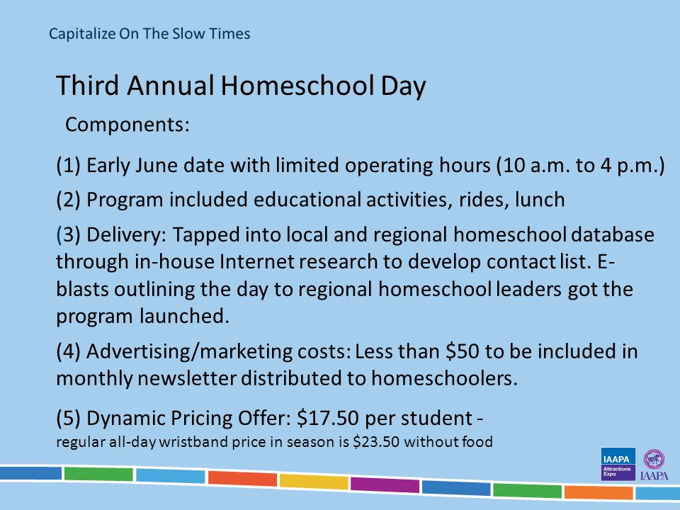 Third Annual Homeschool Day Components: (1) Early June date with limited operating hours (10 a.m.