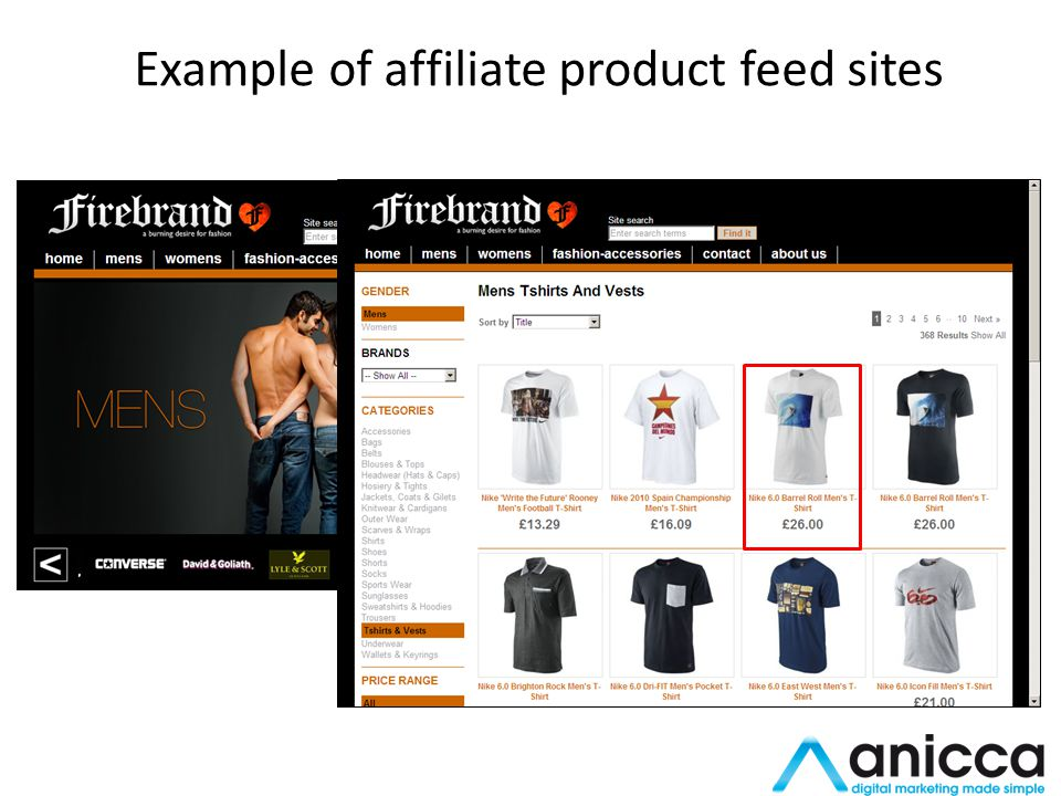 Example of affiliate product feed sites