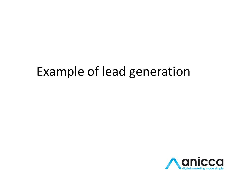 Example of lead generation