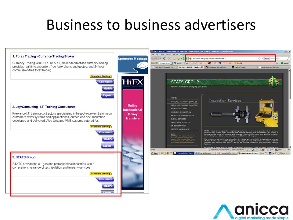 Business to business advertisers