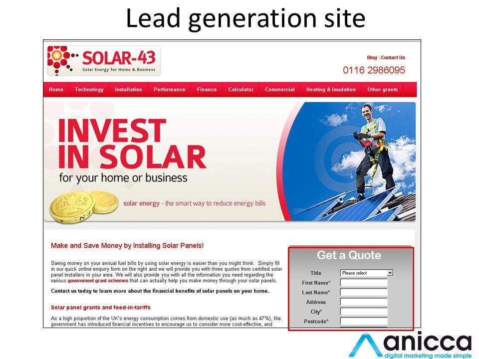 Lead generation site