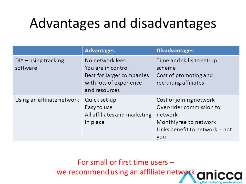 Advantages and disadvantages AdvantagesDisadvantages DIY – using tracking software No network fees You are in control Best for larger companies with lots of experience and resources Time and skills to set-up scheme Cost of promoting and recruiting affiliates Using an affiliate networkQuick set-up Easy to use All affiliates and marketing in place Cost of joining network Over-rider commission to network Monthly fee to network Links benefit to network - not you For small or first time users – we recommend using an affiliate network