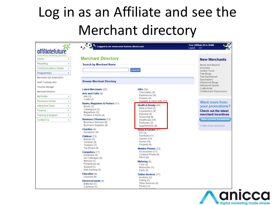 Log in as an Affiliate and see the Merchant directory