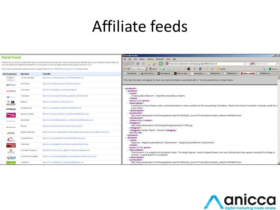 Affiliate feeds