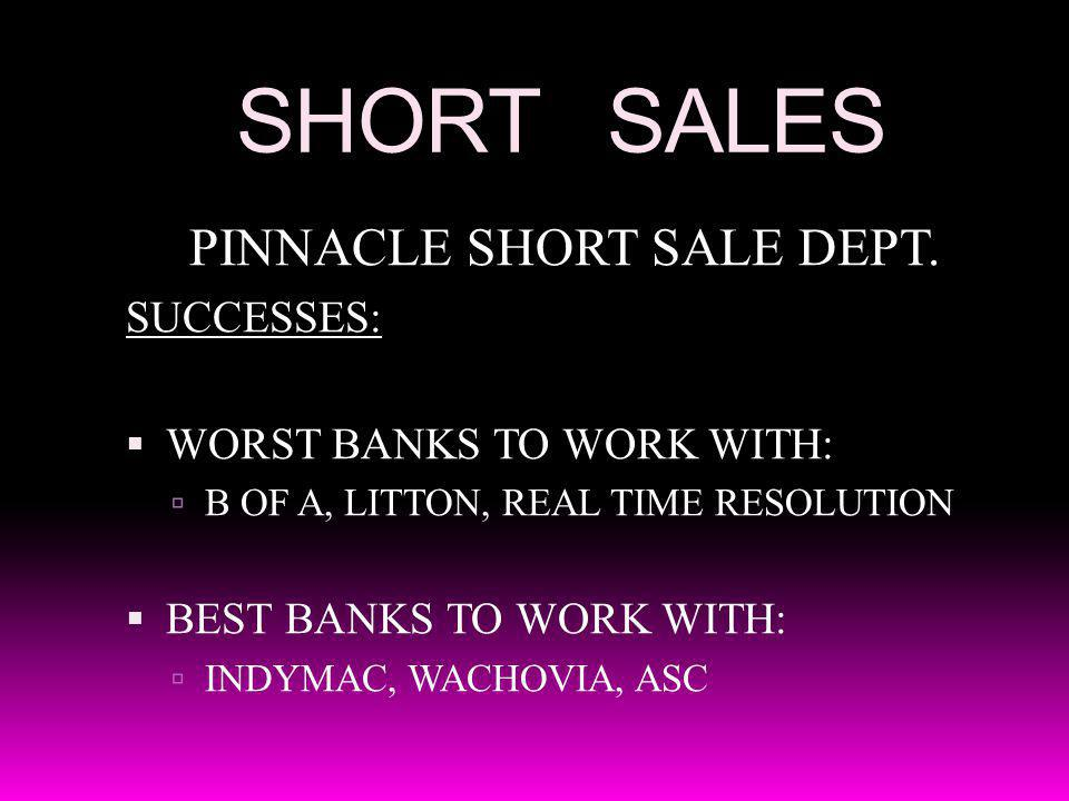 SHORT SALES PINNACLE SHORT SALE DEPT. SUCCESSES: WORST BANKS TO WORK WITH: B OF A, LITTON, REAL TIME RESOLUTION BEST BANKS TO WORK WITH: INDYMAC, WACH