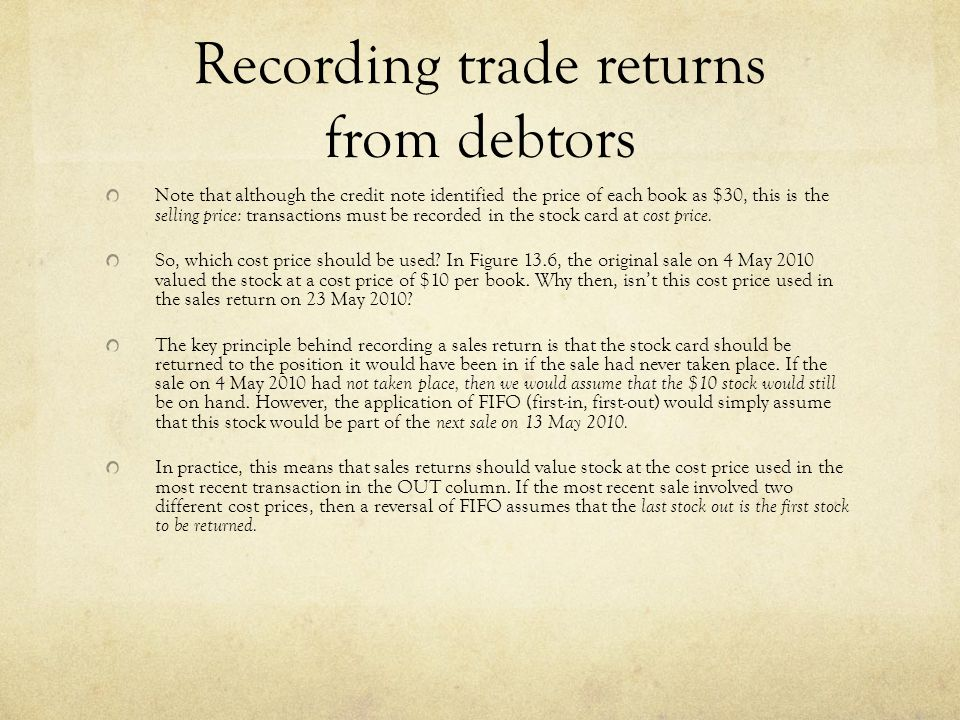 Recording trade returns from debtors Note that although the credit note identified the price of each book as $30, this is the selling price: transactions must be recorded in the stock card at cost price.