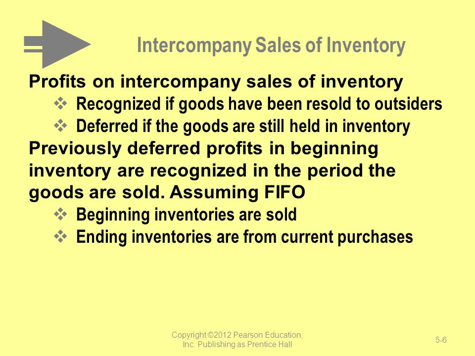 Intercompany Sales of Inventory Profits on intercompany sales of inventory Recognized if goods have been resold to outsiders Deferred if the goods are