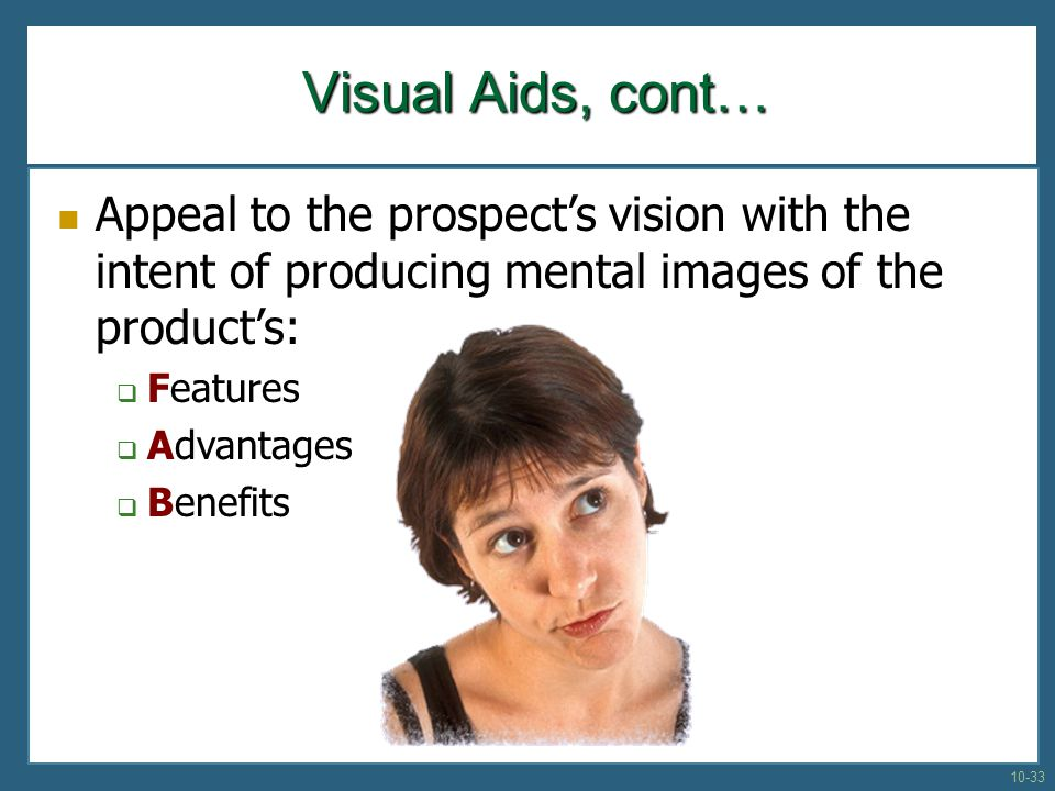 Appeal to the prospects vision with the intent of producing mental images of the products: Features Advantages Benefits Visual Aids, cont… 10-33